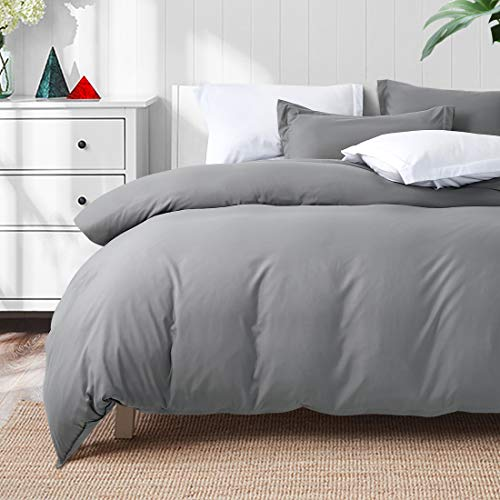 TEKAMON Luxury 3 Piece Duvet Cover Set – Ultra Soft Breathable 100% Brushed Microfiber Hotel Collection Bedding -1 Comforter Cover with Zipper Closure Matching 2 Pillow Shams, Simple(Queen Size, Grey)