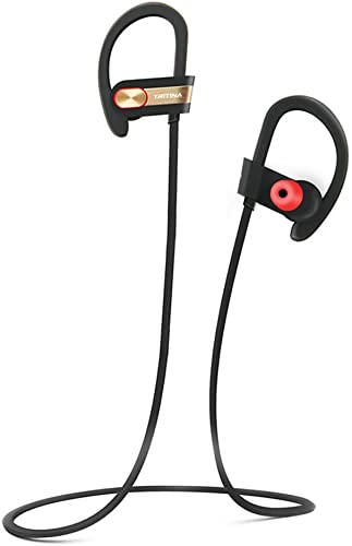 Tritina Sports Bluetooth Earphone Built-in Microphone,Sweatproof Wireless Headphone with Memory Foam Earbuds Stereo Sound for Running,Jogging – Black with Gold