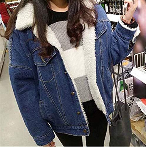 Lunga Moda Jeans Chic Giacche Cute Giaccone Autunno Cappotto Donna Manica Fidanzato Caldo Casuali Eleganti Invernali Vintage Addensare Dunkelblau Baggy Giacca YB8vOg