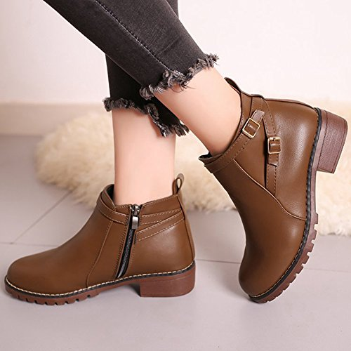 Btrada Women Round-Toe Boots Zipper Low Heel decor Buckle Short Ankle Boots Brown sPtpwH