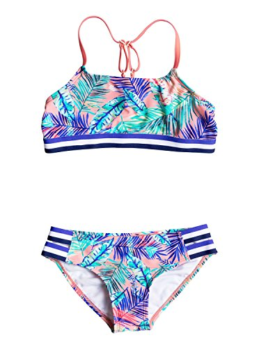 Roxy Big Girls' Retro Summer Halter Set Two Piece Swimsuit, Candlelight Bali Palm Rg, 12