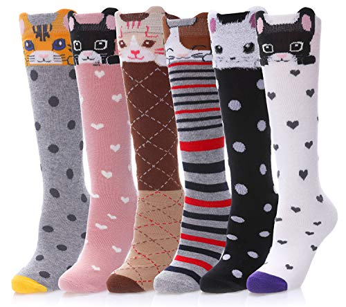 LANLEO Girls Socks 6 Pairs Cute Cartoon Animal Cotton Over Calf Knee High Socks for Kids Teens 3-12 Year Old (6 Pack Cute Cat)