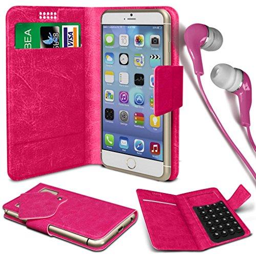 N4U Online® - Apple iPhone 6 PU aspiration étui en cuir Wallet Pad Cover & 3,5 mm stéréo intra-auriculaires - Hot Pink