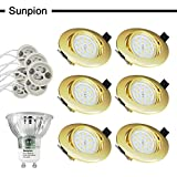 Led Recessed Ceiling Lights , Sunpion 5W GU10 Led Light Bulbs Warmwhite Light Lamps 2700K, Led Ceiling Spotlight for Home Living Room Light,Bathroom Ceiling Light,Led Downlights (6 Pack Gold Round shell)