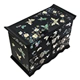 Mother of Pearl Asian Black Lacquer Women Wooden Mirror Jewelry Trinket Keepsake Treasure Gift Girls Jewel Ring Drawer Box Chest Case Organizer with Butterfly and Flower Design