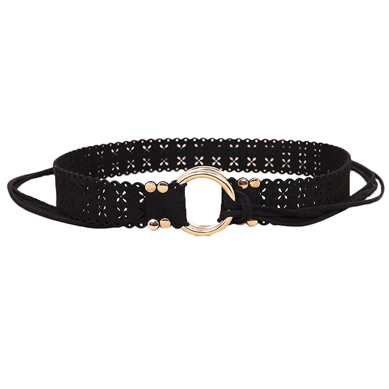 Deercon Women Hollow Bow Dress Waist Belt Leather Waistband