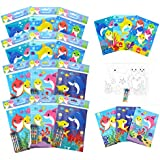TINYMILLS Shark Family Coloring Book Set with 12 Coloring Books and 48 Crayons Shark Family Birthday Party Supplies…
