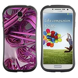 LASTONE PHONE CASE / Suave Silicona Caso Carcasa de Caucho Funda para Samsung Galaxy S4 I9500 / 3D Lines Abstract Plastic Art