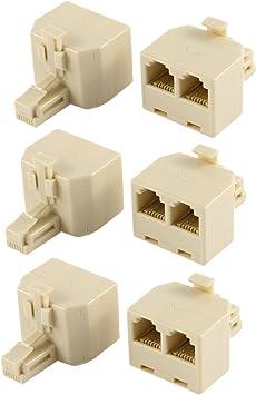 3 Pcs RJ11 6P4C Female to 2 Female Socket Telephone Modular Splitter Adapter
