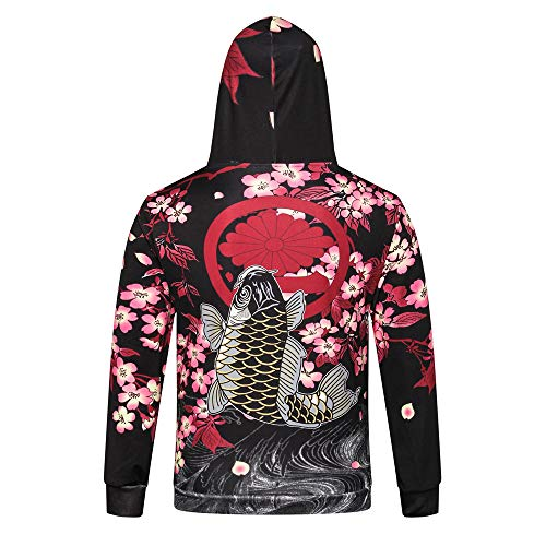 Birdfly Men Japanese Style The Cherry Blossom Carp Print Long-Sleeved Fall Winter Hoodie Top Plus Size 2L 3L (3XL, Multicolor) (L, Sakura)