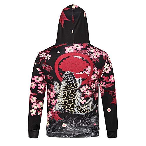 (Birdfly Men Japanese Style The Cherry Blossom Carp Print Long-Sleeved Fall Winter Hoodie Top Plus Size 2L 3L (3XL, Multicolor) (M, Sakura) )