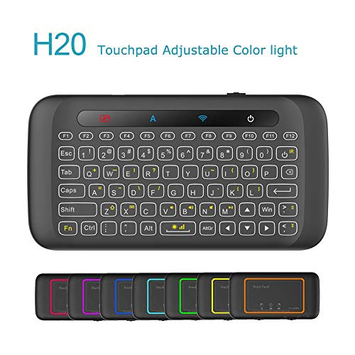[2018 Updated] Dupad Story H20 2.4GHz Mini Wireless Keyboard with Remote Mouse Combo Backlit Multi-Touch Touchpad,USB Rechargeable for Android TV Box Windows PC, HTPC, IPTV, PC, Raspberry pi 3