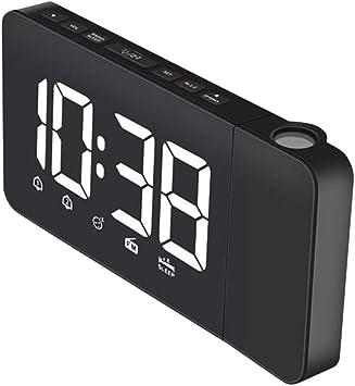 H HILABEE Proyección De Pared Digital LED Alarma Hora Proyector ...