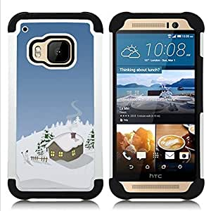 - Winter Christmas House - - Doble capa caja de la armadura Defender FOR HTC ONE M9 RetroCandy