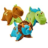 Pillow Pets 3 Dinosaur Combo Pack - Blue, Green & Brown Dinosaurs