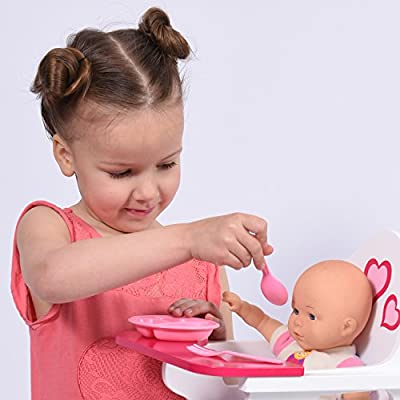 Wooden Doll High Chair with Doll Bib Fits 18