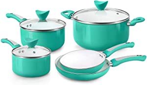FGY 8 Pieces Non-stick Pots Pans Ceramic Coating Cookware Set with Induction Bottom, Multi Cooking Way of Pan and Pot Set- Dishwasher safe (8-Piece, Green)