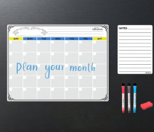 HANTAJANSS Magnetic Dry Erase Monthly Calendar Set White Board &List Organizer Large Planners with Small Note Smart Planner for Kitchen Refrigerator by HANTAJANSS