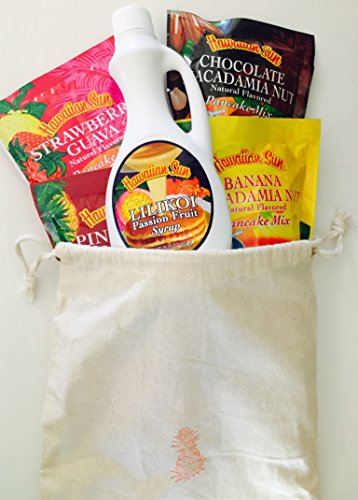 Hawaiian Sun Tropical Pancake Lovers Bundle Set - Lilikoi (Passion Fruit) Syrup (15.75 oz) & Strawberry Guava, Banana Macadamia, Chocolate Macadamia & Pineapple Coconut Pancake Mixes.