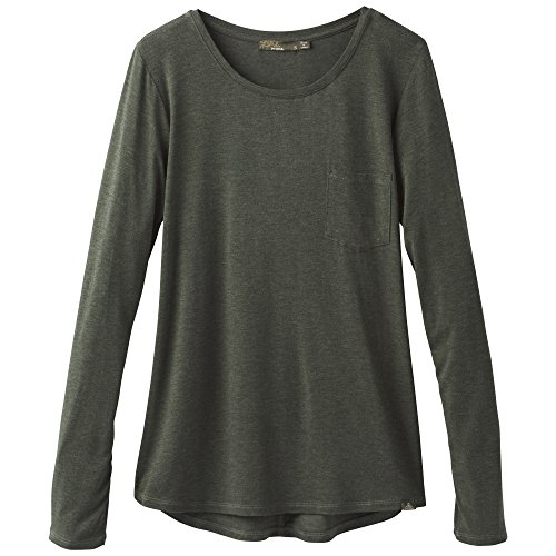 - prAna Foundation l/S Crew Neck Top, Forest Green Heather, Large
