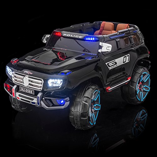 Police Car Battery - SPORTrax Rescue Kid's Ride On Electric Police Car, Remote Control w/Free MP3 Player - Black