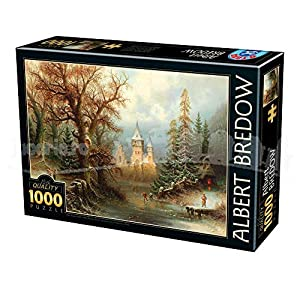 D Toys Puzzle 75697br 01 1000 Pezzi Albert Bredow Romantic Winter Landscape With Iceskaters By A Castle