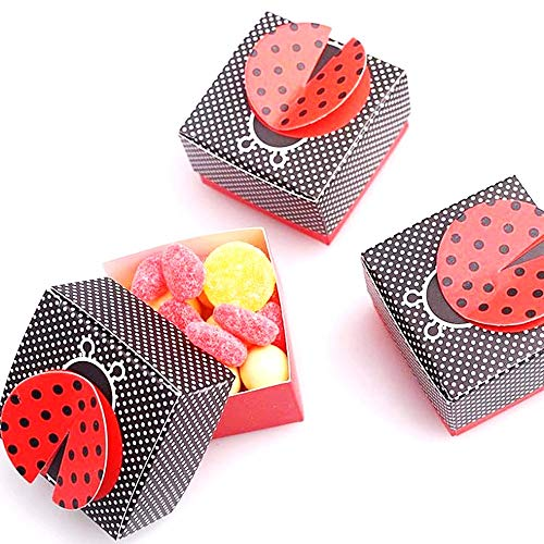 JZK 50 x Black red Ladybug Baby Shower