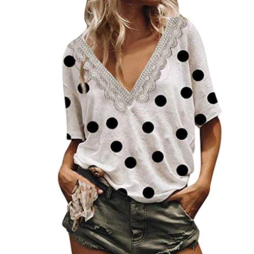 (Wadonerful Sexy Blouse Women Polka Dot Printed V-Neck Short Sleeve Tops Summer Tee T-Shirt White)
