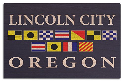 Lincoln City, Oregon - Nautical Flags (12x18 Wood Wall Sign, Wall Decor Ready to - Lincoln Of City Images