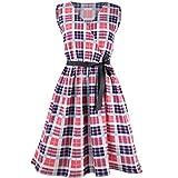 NEEDRA Floral Dress, Women Gingham Calico Tropical Bow Tie V-Neck Sleevless Belt Bandage Floral Print Evening Mini Tank Dress