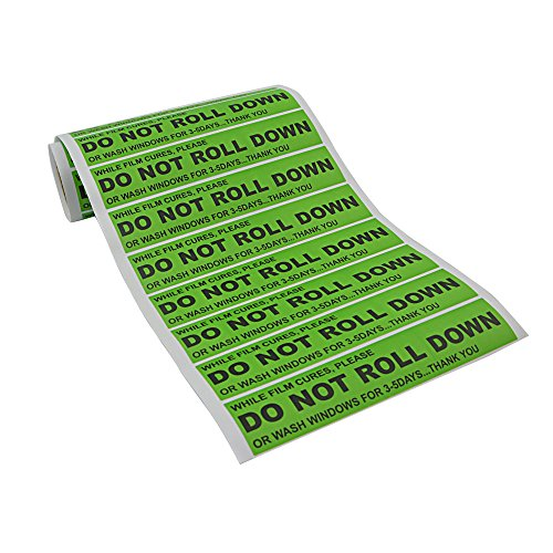 FOSHIO 100pcs/roll DO NOT ROLL DOWN Automotive Self-Adhesive Stickers Warning Label for Auto Vinyl Wraps -