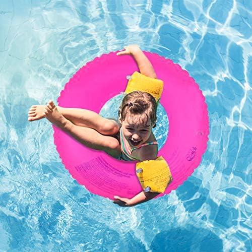 インフレータブル透明リングスイムチューブ – 水泳ラップポリ塩化ビニル 水のおもちゃ スイミングプールパーティー 楽しいビーチスイムリング 大人、ティーンエイジャー、6歳以上に最適 (1個入りパック、ランダムカラー発送)