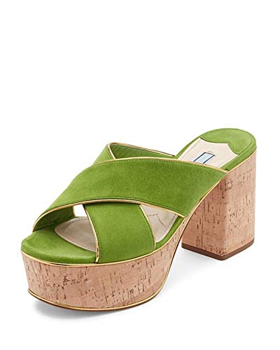 f3e325ae2857 Image Unavailable. Image not available for. Color  Prada Suede Platform  Cork-Heel Mule Sandal ...