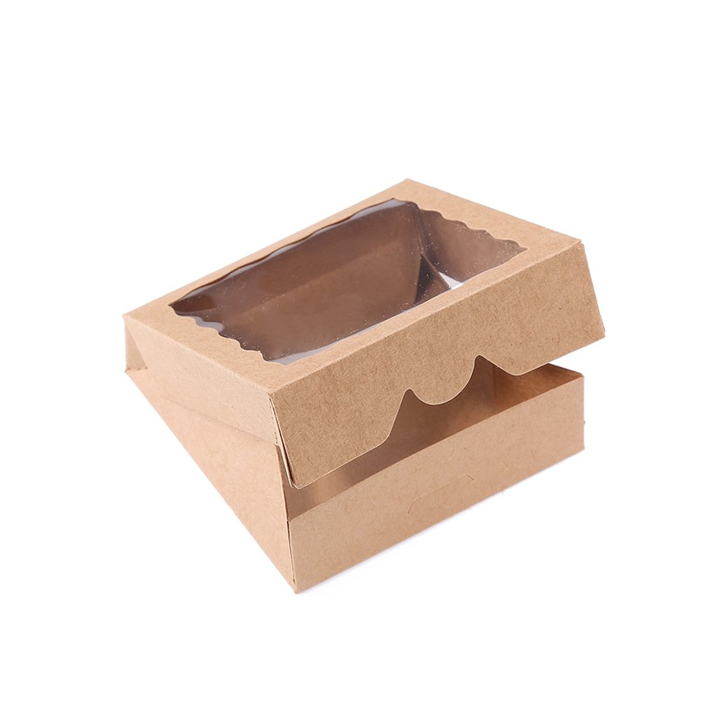 ONE MORE 9inch Natural Kraft Bakery Pie Boxes With PVC Windows 12pcs Of Pack LanYang