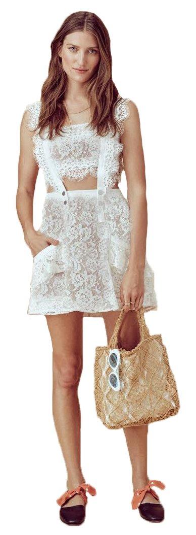 For Love & Lemons Women's Tati Pinafore Lace Dress, White, S by For Love & Lemons (Image #1)