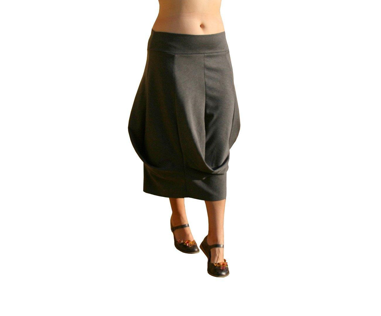 Draped skirt, Midi skirt, Jersey skirt, Grey skirt