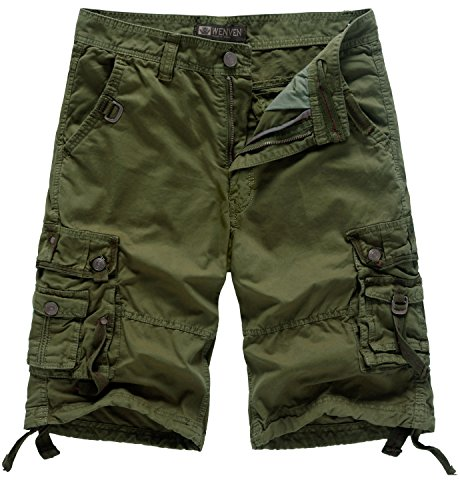 WenVen Men's Casual Cargo Short Pants Military Outdoor Wear Lightweight(WV3233 Military Green,33) ()