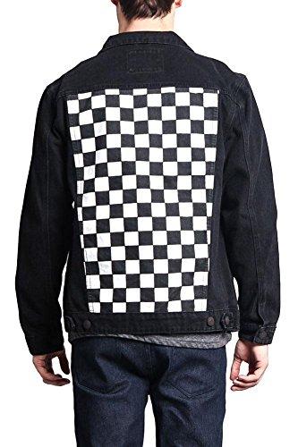 Victorious G-Style USA Men's Checkered Denim Ska Punk Mod Denim Jacket - DK122 - Black - X-Large - II13E