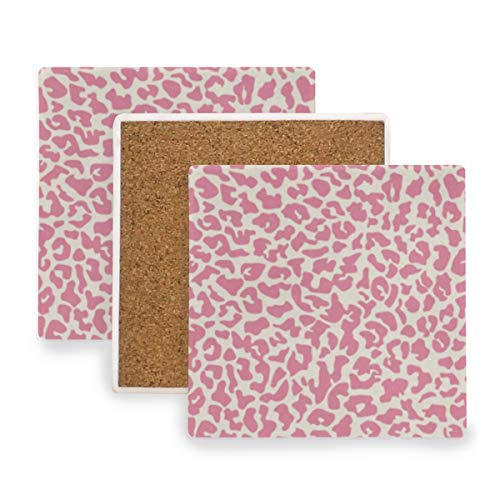 Watercolor Leopard Pattern Coasters, Protect Your Furniture from Stains,Coffee, Wood Coasters Funny Housewarming Gift,Square Cup Mat Pad for Home, Kitchen or Bar Set of 4