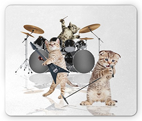Ambesonne Animal Mouse Pad, Cool Fancy Hard Cute Rocker Band of Kittens with Singer Guitarist Cats Artwork Print, Standard Size Rectangle Non-Slip Rubber Mousepad, Multicolor ()