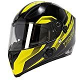TORC Unisex-Adult Full-face Style T15B Bluetooth Integrated Motorcycle Helmet with Graphic (Gloss Black Edge HiViz Yellow, XX-Large)