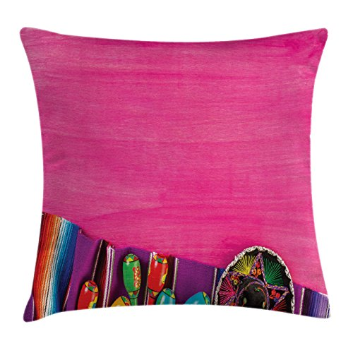 Ambesonne Mexican Throw Pillow Cushion Cover, View of Folkloric Serape Blanket Charro and Music Instruments Cultural Elements, Decorative Square Accent Pillow Case, 26 X 26 Inches, Fuchsia Purple by Ambesonne