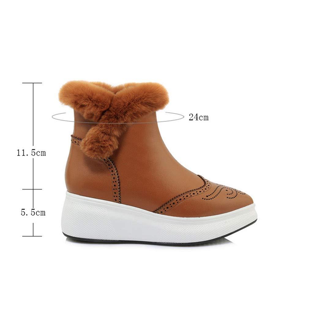 YAN Damen Stiefeletten Leder Winter Plattform Schuhe Schneeschuhe warme Stiefel schwarz Rutschfeste Gummi Soleoutdoor Wanderschuhe schwarz Stiefel braun 581fb5