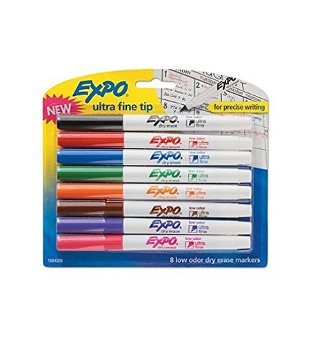 (Low-Odor Dry-Erase Marker, Ultra Fine Point, Assorted, 8 per Set, Sold as 8 Each)