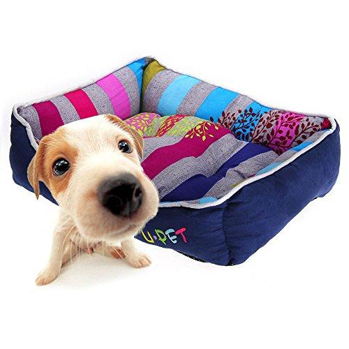 Puppy Pet Dog Cat Bed House Cushion Nest Mat Pad Cute Royal Blue Stripe S