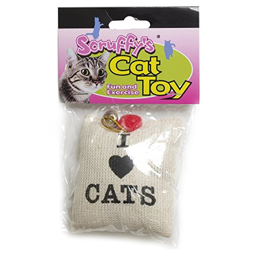 Boss Pet Scruffy's Catnip I Love Cats Catnip Burlap Sack with Bell and Heart Cat Toy - Colorful Catnip Sack