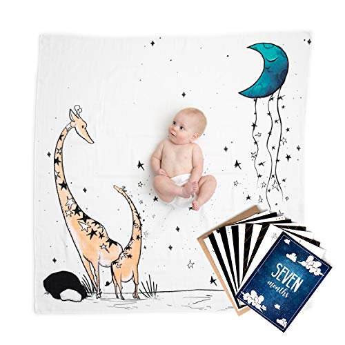 JumpOff Jo - 100% Cotton Baby Blanket Swaddle and Milestone Photo Cards Bundle - 1 Blanket, 12 Double-Sided Milestone Photo Cards - Original Design - to The Moon Series: Giraffe & a Calf
