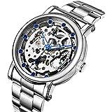 Erbida Men's Silver Tone Auto Self Wind Stainless Steel Watch-Skeleton Dial CZ Hour Marks