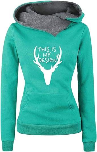 URSING bluza bożonarodzeniowa damska, sweter z długim rękawem, tunika, bluza z kapturem, renifer, nadruk, długa bluza na jesień, zimę, na Boże Narodzenie, z długim rękawem: Odzie&#