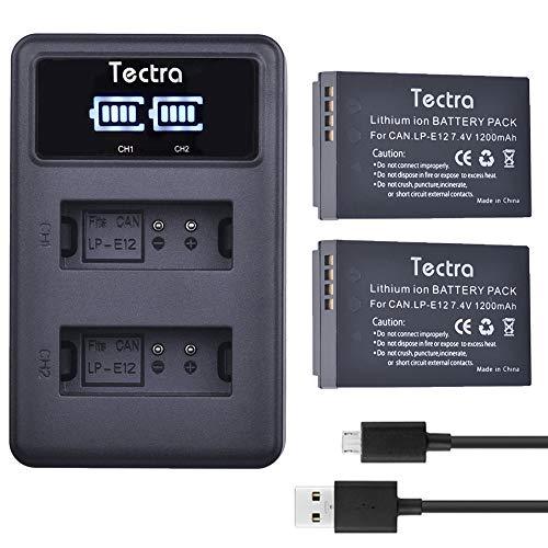 Tectra 1200mAh 2Pcs LP-E12 LP E12 Battery + LED Dual USB Charger for Canon Rebel SL1,EOS-M,EOS M2,EOS M10,EOS M50,EOS M100 Mirrorless Digital Cameras ()